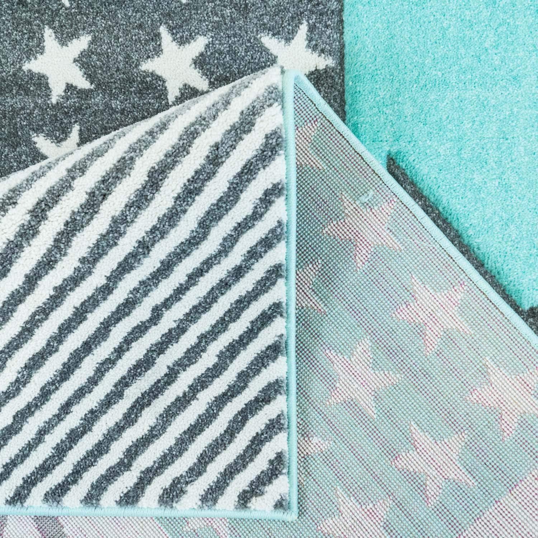 Gr/ö/ße in cm:80 x 150 cm MyShop24h Kinderteppich Sternteppich Spielteppich Hochwertig mit Sternen-Muster in Pastell-T/ürkis mit Konturenschnitt Glanzgarn f/ür Kinderzimmer