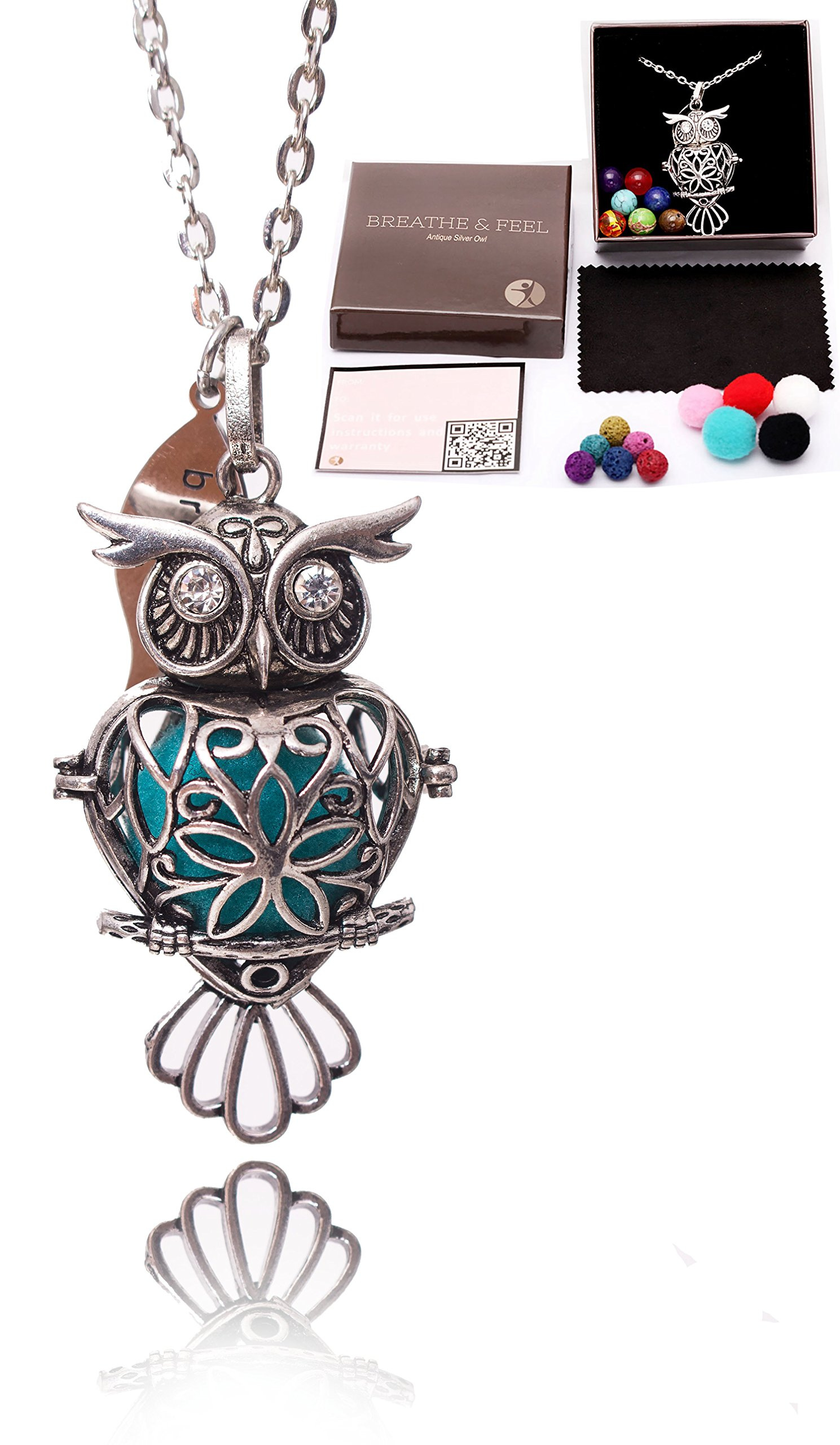 Owl Aromatherapy Essential Oil Diffuser Necklace with Cotton Beads - Lava Stones - Chakra Rocks - Cleaning Cloths