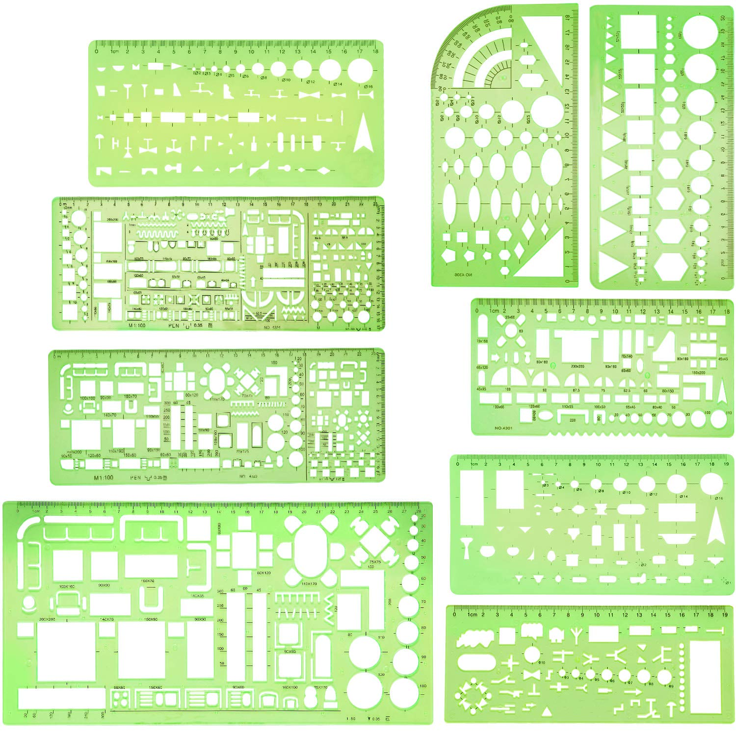 Boao 9 Pieces Geometric Drawing Templates Clear Green Building Formwork Stencils Plastic Measuring Rulers for Building and Studying by Boao