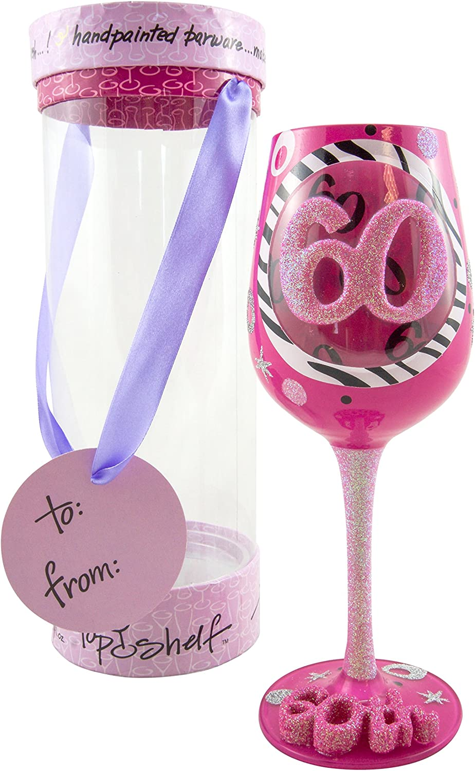 Top Shelf 60th Birthday Wine Glass – Hand-Painted - Unique Gifts for Women
