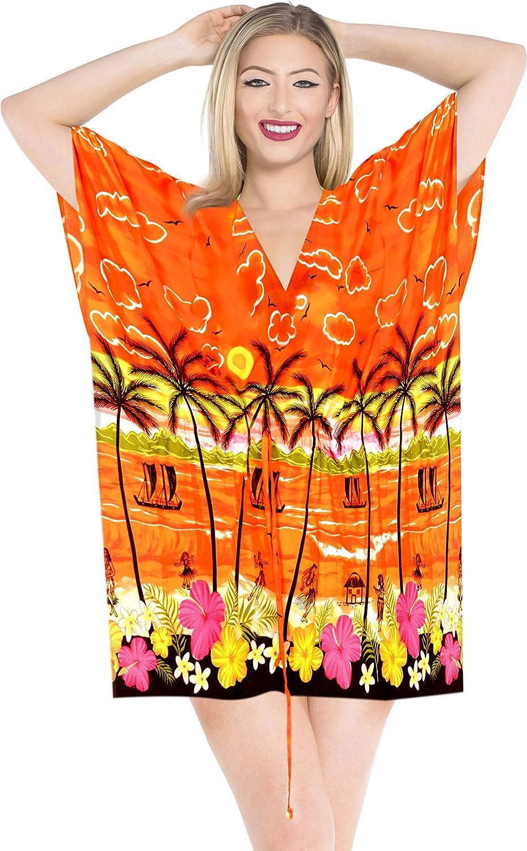LA LEELA Traje de baño Ropa de Playa del Bikini Traje de baño de Las Mujeres más la Blusa de Color Calabaza Naranja Cubren caftán
