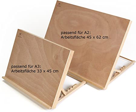 ZEICHENTISCH WORKSTATION Tischstaffelei f/ür Malvorlagen bis DIN A2 Buchenholz