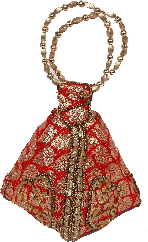 Wristlet// Hand Bag with Brocade Beads Red Color Bangle Potli Bag