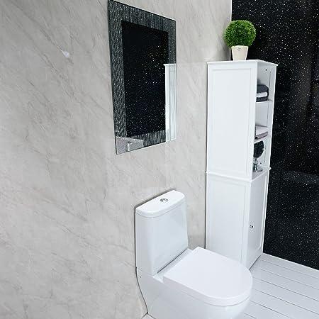 Shower Wall Panels   Grey PVC Bathroom Cladding Wall Panels Large 2.4m X 1m