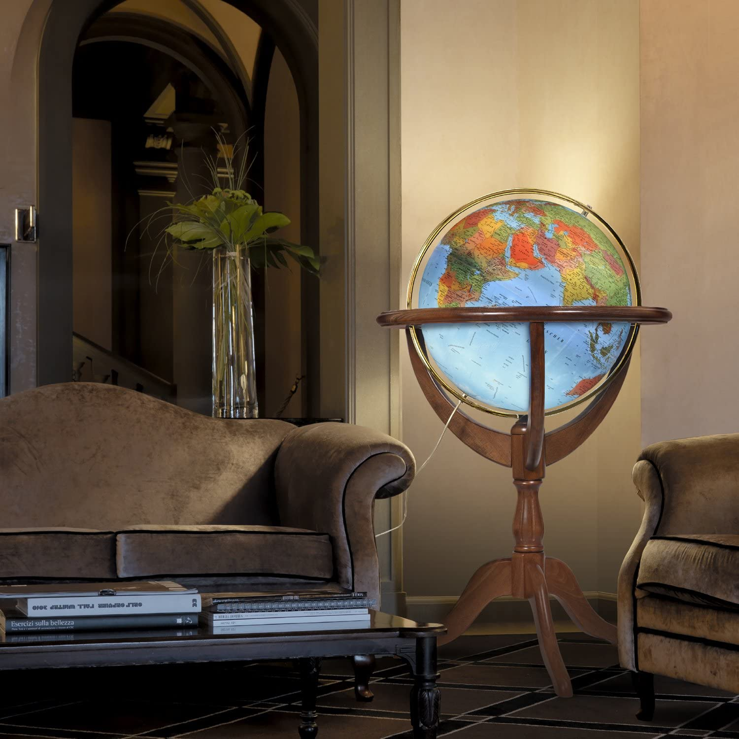 Waypoint Geographic Geneva 20 inch Diameter Political Landmass /& Classic Antique Oceans Illuminated UP-TO-DATE Floor Standing Globe Metal Meridian-Duncan Phyfe Style 3-Leg Wood Stand Classic Antique
