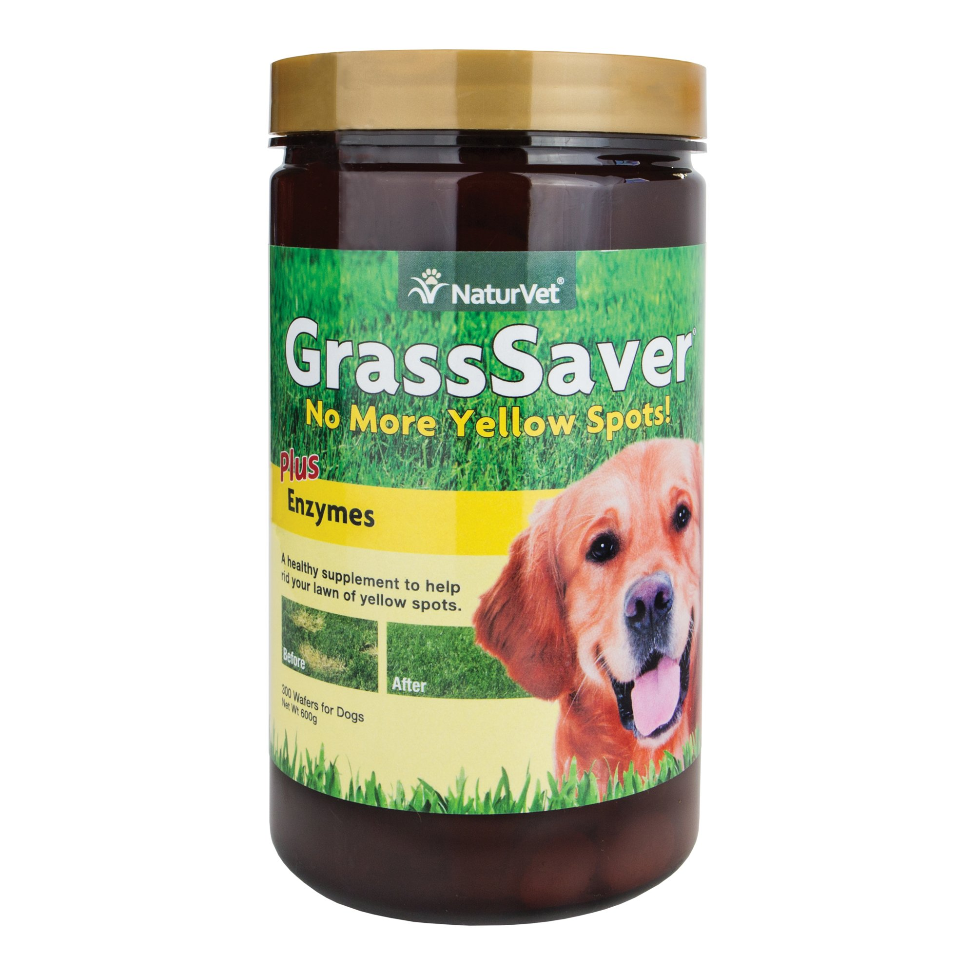 NaturVet GrassSaver Wafer Supplement, Removes The Yellow Spots on Your Grass From Dog Urine, Includes Healthy Enzymes, Made by