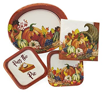 Thanksgiving Paper Plates Napkins for Your Holiday Table Bundle for 8 Guests  sc 1 st  Amazon.com & Amazon.com: Thanksgiving Paper Plates Napkins for Your Holiday ...