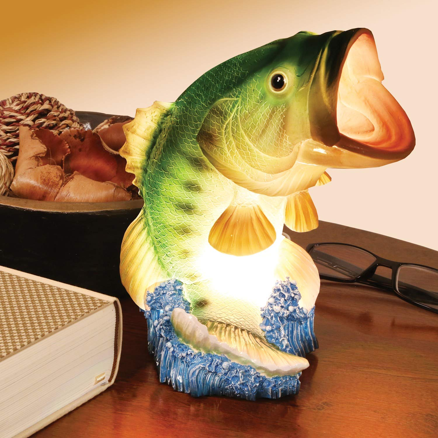 What on Earth Wide Mouth Bass Table Lamp - Lifelike Fish Shaped Accent Light