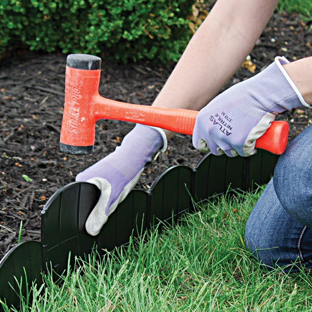 Emsco Group 2050 60 Choppers Heavy-Duty Hammer Corner and T Connectors Included-Black Garden Border Edging