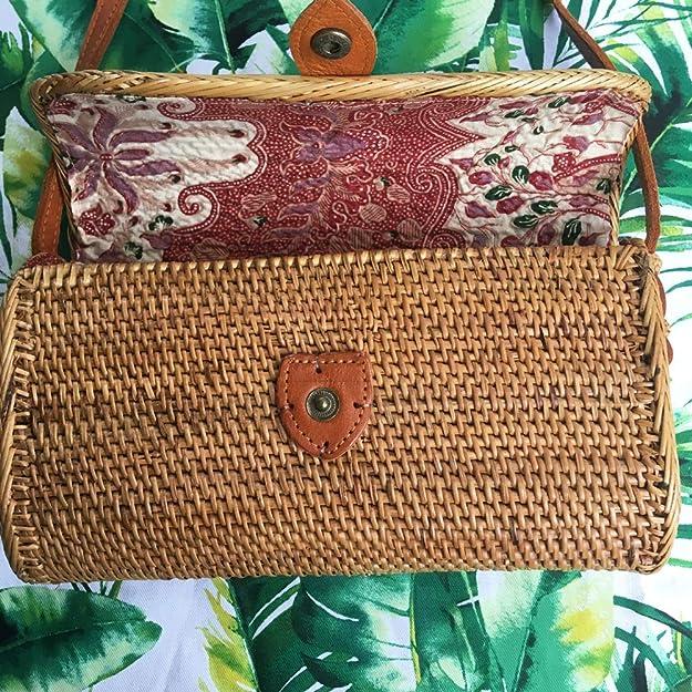 Amazon.com: Iluka Beach - Bolsa rectangular de ratán, 7.9 in ...