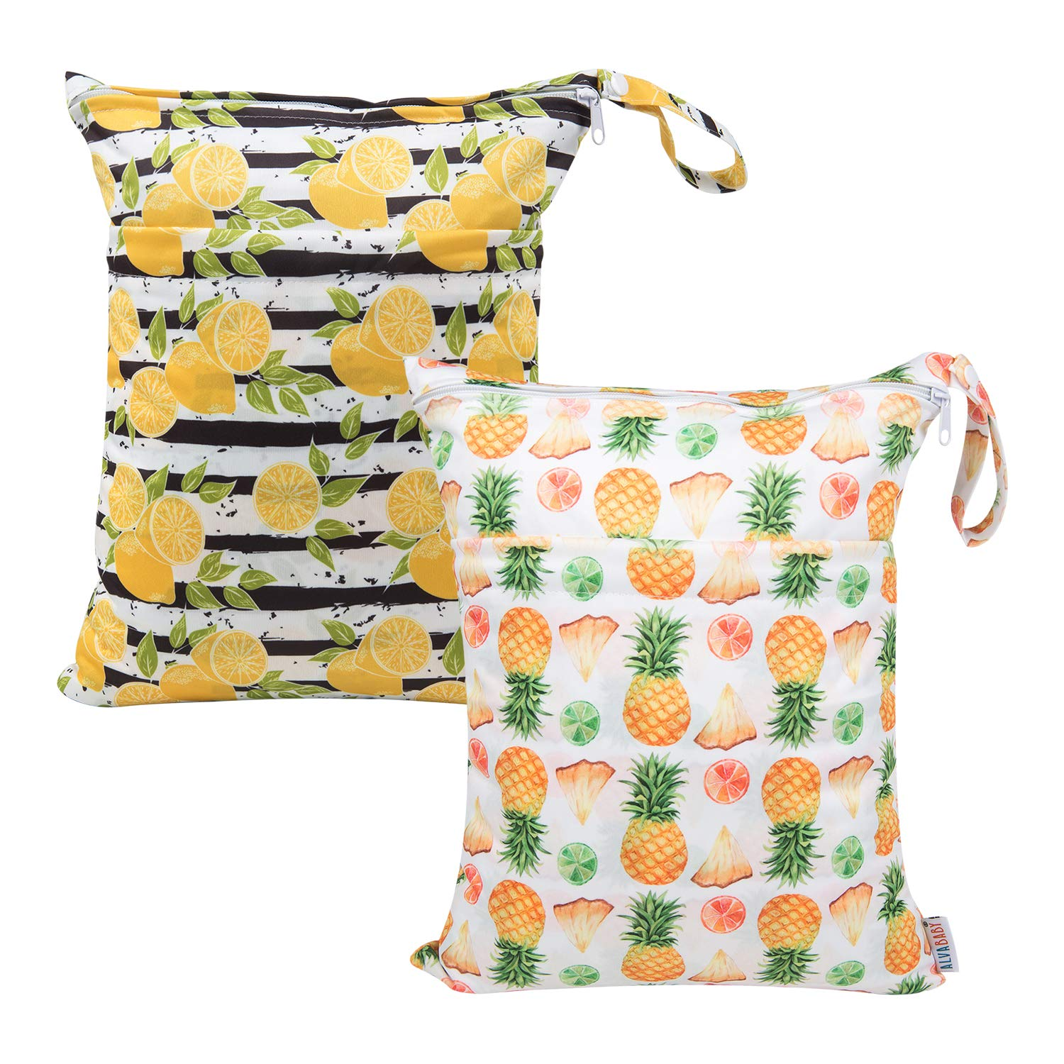 ALVABABY Cloth Diaper Wet Dry Bags Reusable with Two Zippered Pockets Travel Beach Pool Daycare Soiled Baby Items Yoga Gym Bag For Swimsuits Or Wet Clothes 2 Pack Setting Gift L-39YX25-CA