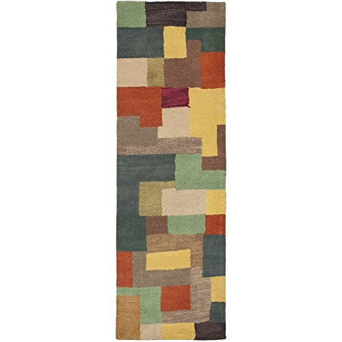 Safavieh Soho Collection SOH923A Handmade Modern Abstract Multicolored Premium Wool Runner 2 6 x 8