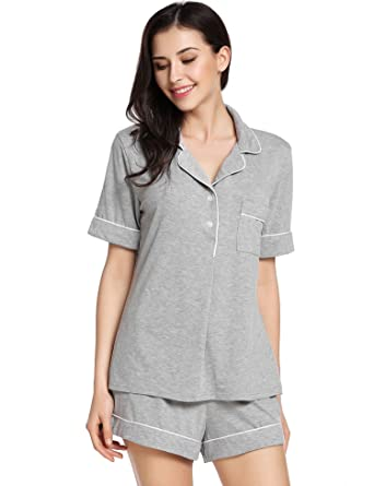 Goldenfox Lounge Sets for Women 2 piece Sleepwear Sets Cotton Nightgowns  (Gray a7db40c8e