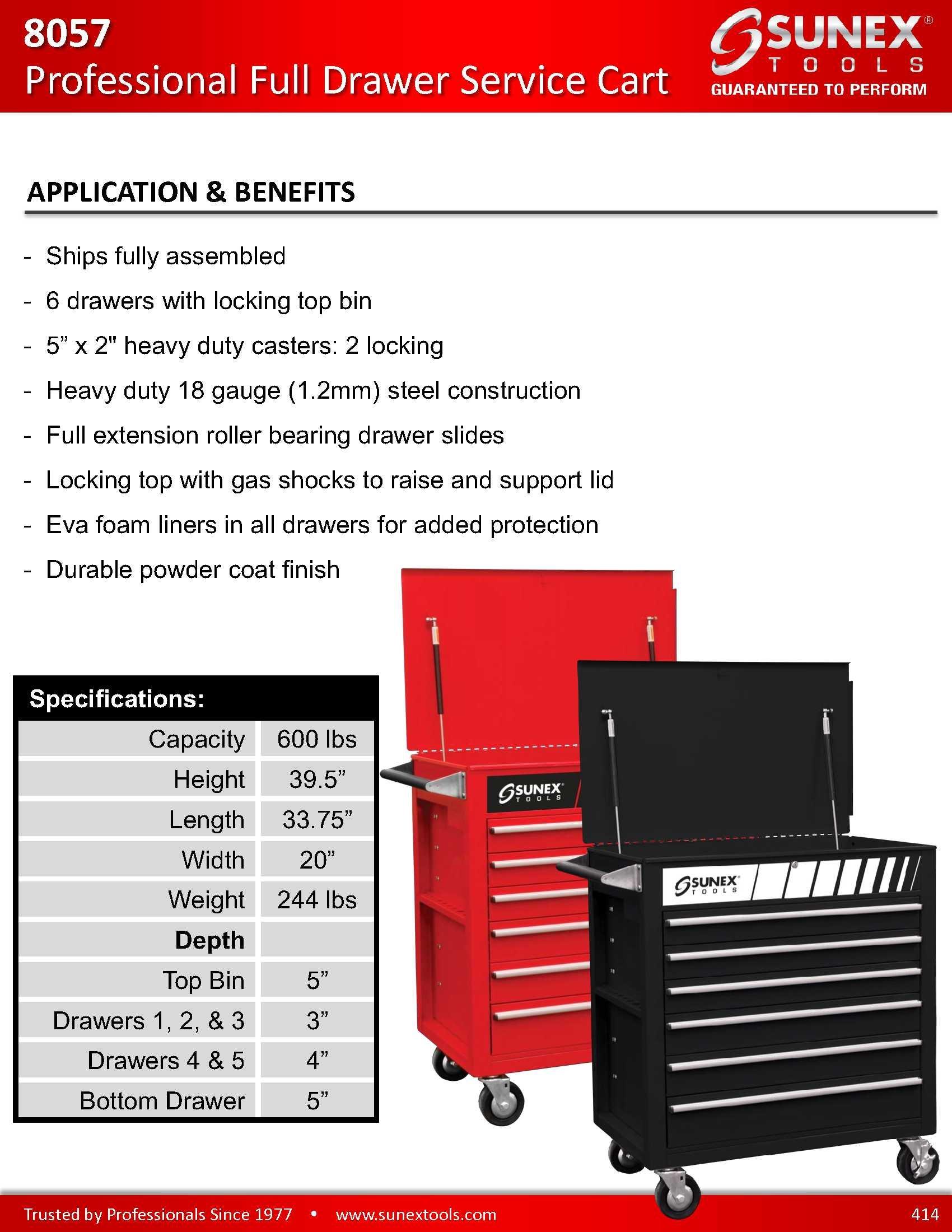 Sunex 8057 Premium Full Drawer Service Red Cart by Sunex Tools (Image #2)