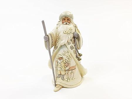 Enesco, JS HWC Fig Woodland Santa with Reindeer Scene White Woodland , White