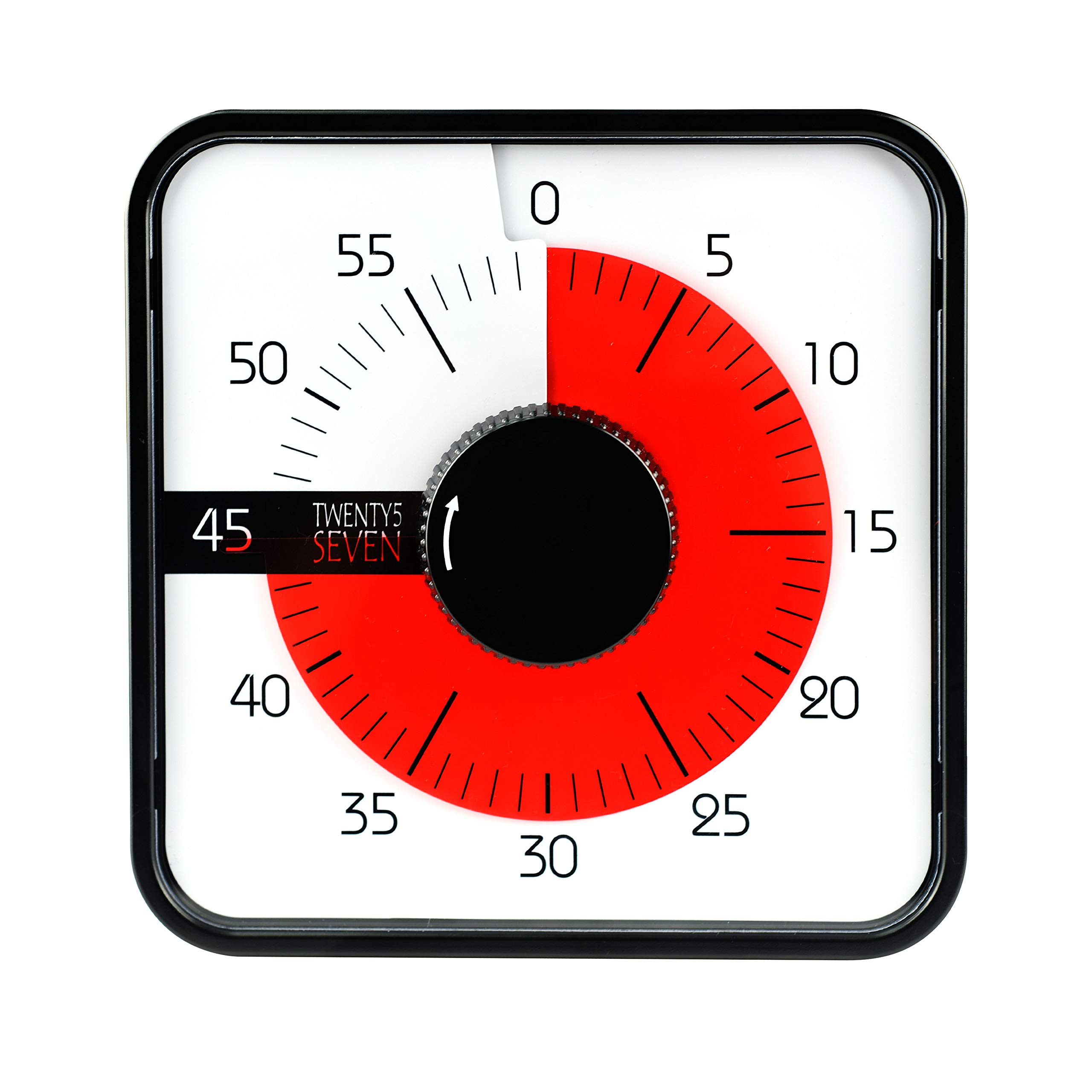 Countdown Timer 7.5 inch; 60 Minute 1 hour Visual Timer - Classroom Teaching Tool Office Meeting, Mechanical Countdown Clock for Kids Exam Time Management Megnetic Black by TWENTY5 SEVEN