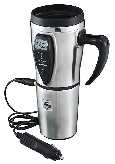 577b1d1b6ff Tech Tools Heated Smart Travel Mug with Temperature Control 16 Ounce, 12V  Adapter - Stainless Steel
