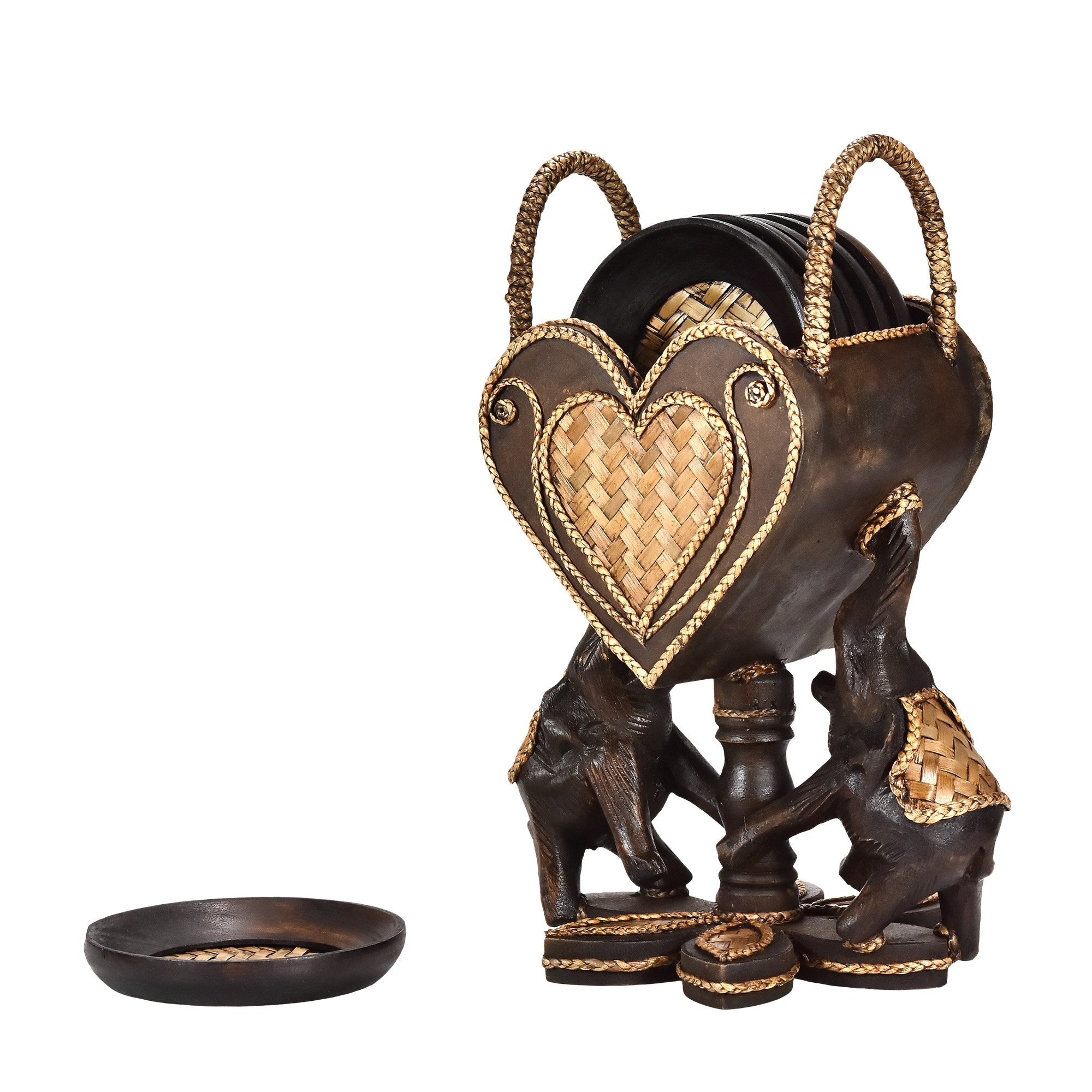 AeraVida Elephant Pair Holding a Heart Set of 6 Coaster Kitchen Decor
