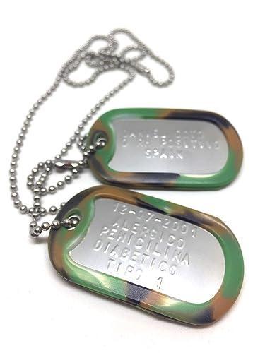 TusPlacas Chapas Militares Personalizadas de Acero Inoxidable. Collar de Chapas Grabadas en Relieve. Colgante Estilo Ejército Americano. Grabado, ...