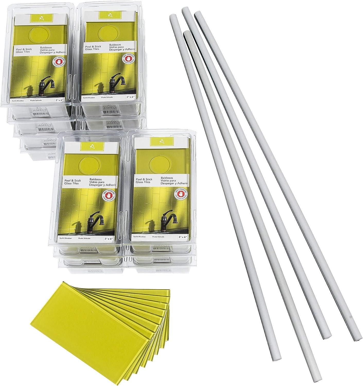 - Aspect Peel And Stick Backsplash Kit Sunlit Meadow Glass Tile For
