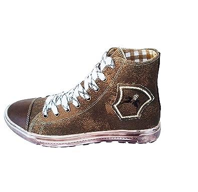 40335807100d Maddox Country Trendige Jungen Sneaker Fredl Dunkelbraun aus Leinen mit  Used Look Sohle, Trachten Sneakers