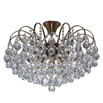 Kompakte Schicke Deckenleuchte Kaskade Kristallkugeln Klar 8   Flammig  Modern Bronzefarbiges Metall 43cm Hoch Für Wohnzimmer