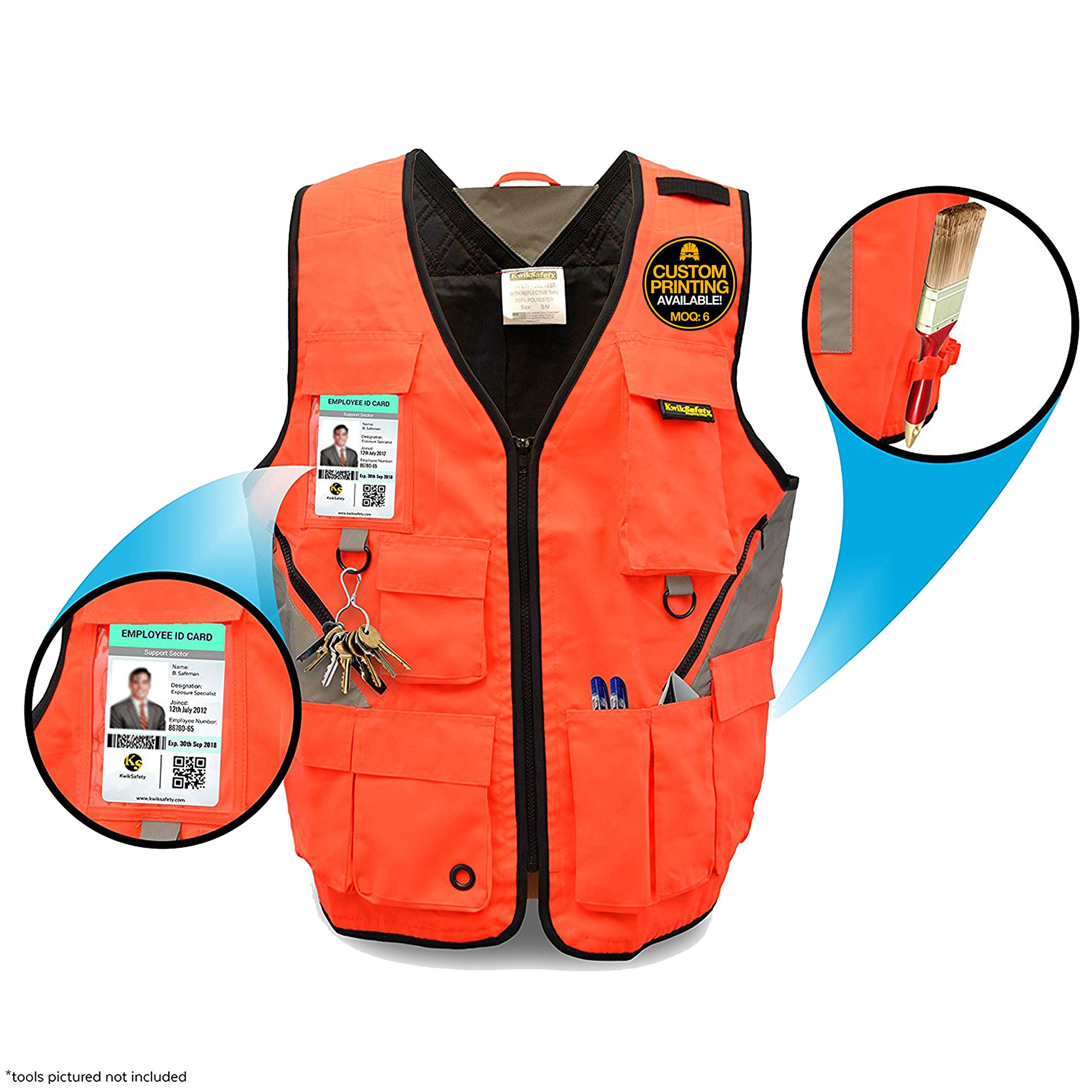 KwikSafety ARTISAN | Tool Vest | Reflective Multi Pocket Lightweight Work Wear | Hi Vis Volunteer Emergency Crew Surveyor Carpenter Electrician Engineer | Men Women Regular to Over Sized Fit | 4XL/5XL
