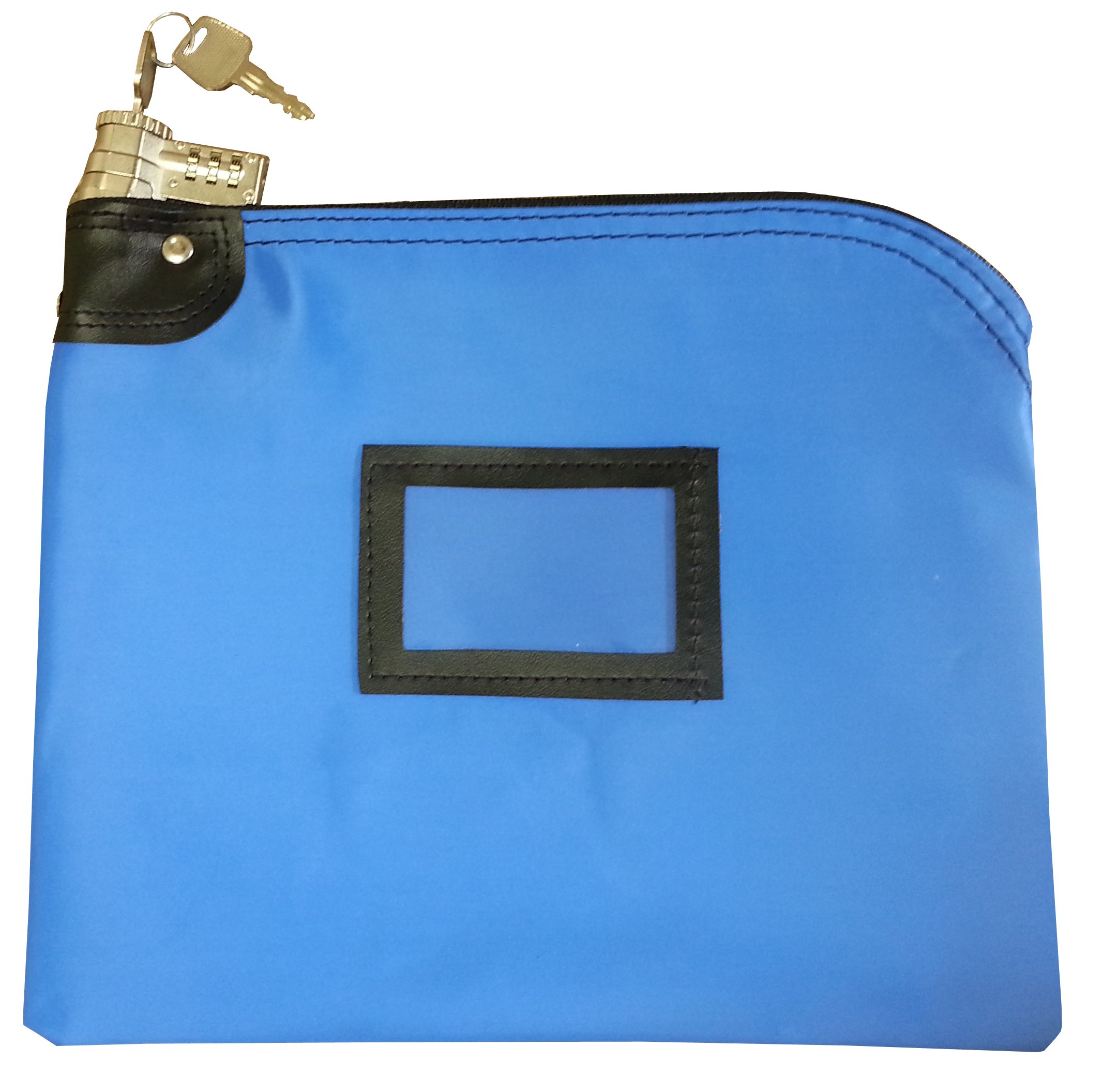 Locking Bank Bag Laminated Nylon Combination and Keyed Security System Royal Blue