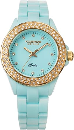 Buy K BROS Women s 9552-5 Icetime Fashion Three Hands Stones Watch ... 2a5f90d2eb