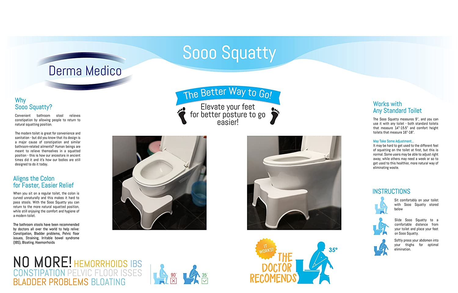 How to go to bathroom when constipated - Squatting Toilet Stool 9 Inch By Derma Medico Non Slip Bathroom Step Up Stool Relieves Constipation Bloating Aligns The Colon For Faster