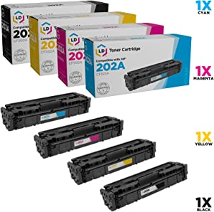 LD Compatible Toner Cartridge Replacements for HP 202A (1 Black, 1 Cyan, 1 Magenta, 1 Yellow, 4-Pack)