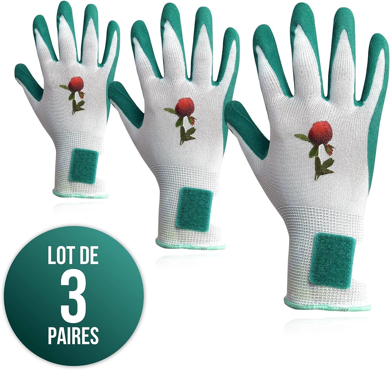 EN420:2003 Brevet/é NoLost Taille 8//M EN388:2016 avec enduction en Latex Femme Assortiment 2131X 3 Paires de Gants de Jardinage et de Travail