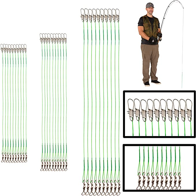 10pcs Fishing Wire Leaders 110LB High Strength Fishing Leaders with Swivel Snap