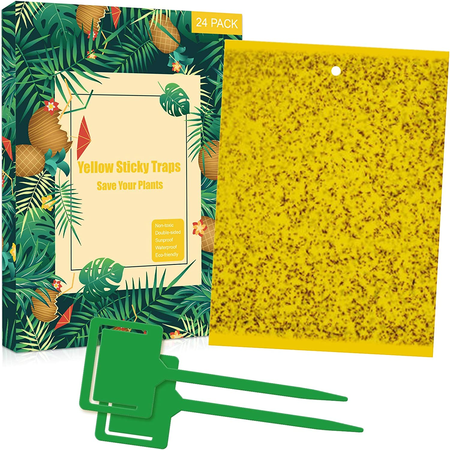 24 Sheets Dual-Sided Yellow Sticky Traps for Natural Pest Control, Fruit Fly Traps Indoor / Outdoor with Twist Ties & Holders, Yellow Fungus Gnat Traps for Whitefly, Thrips, Aphids, Flying Insects