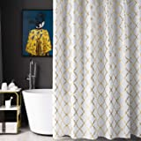 White Shower Curtain Gold Moroccan Pattern with 12 Hooks Included, 72 x 72 Inch , 1 Panel