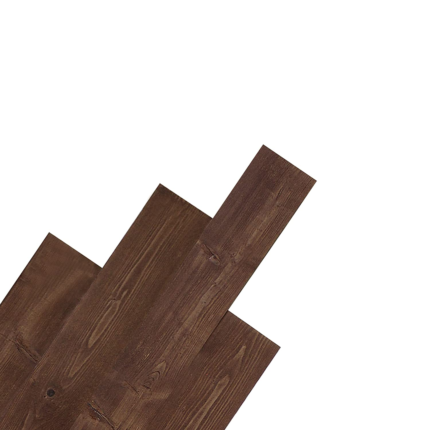 DIY Peel and Stick Reclaimed Barn Wood Plank Wall Panel 10pcs per Box Cover 16sqft (Mix Brown) Kingsman Hardware