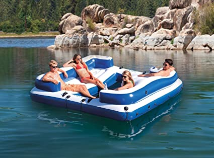 Amazon Com Inflatable Floating Island 5 Person Party Boat Raft For