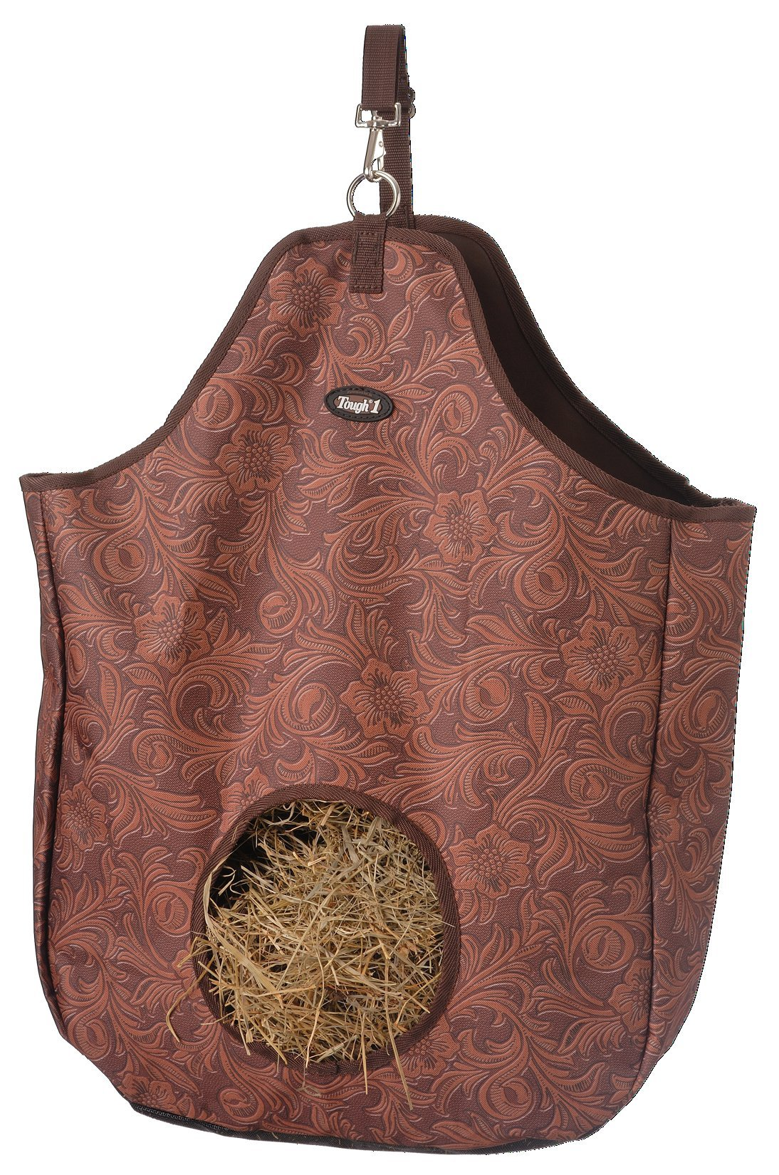 Tough 1 Nylon Hay Tote Bag in Prints, Tooled Leather Brown by Tough 1