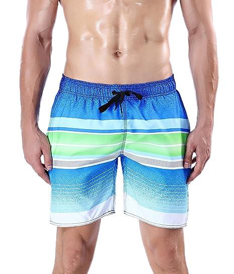 45257d0844 Image Unavailable. Image not available for. Color: QRANSS Men's Quick Dry  Swim Trunks Bathing Suit Striped Shorts ...