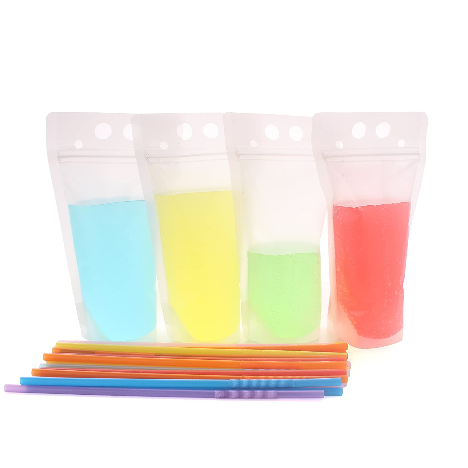 Warmbuy Reclosable Stand Up Drinks Pouches Bags with Plastic Flexible Straws, Set of 50