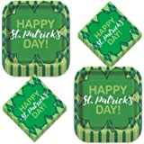 St. Patrick's Day Argyle & Clover Paper Dinner Plates and Lunch Napkins (Serves 16)