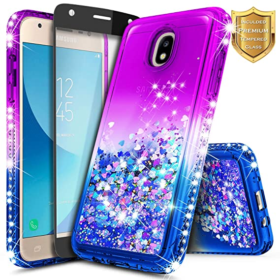 quality design f2112 0fab6 Galaxy J7 Refine Case, J7 2018 / J7 Star / J7 V 2nd Gen w/[Full Cover  Tempered Glass Screen Protector] NageBee Glitter Liquid Quicksand Waterfall  ...