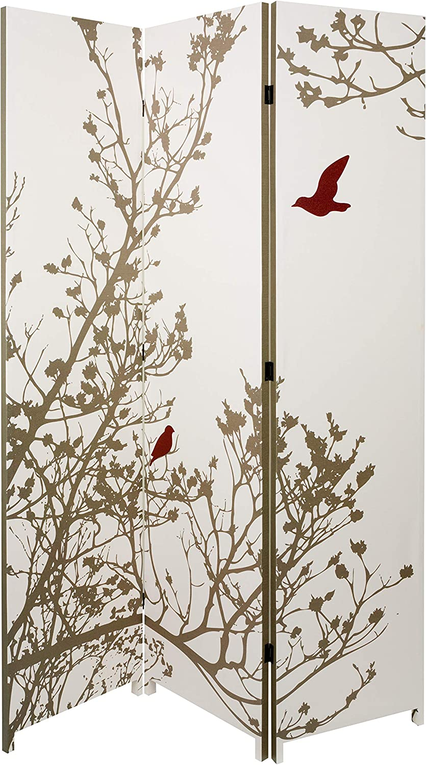 nexxt Bota Triple-Panel Floor Screen, Taupe Branches and Birds