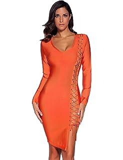 c6ebe645c5fa Amazon.com: Meilun Women's Lace Up Bandage Dress Sexy Bodycon Club ...