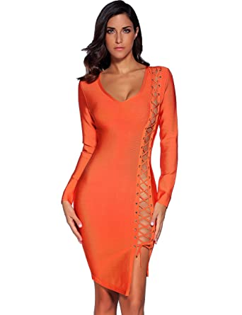 67fe48049aa9 Amazon.com  Meilun Women s Lace Up Long Sleeve Bandage Bodycon Dress ...