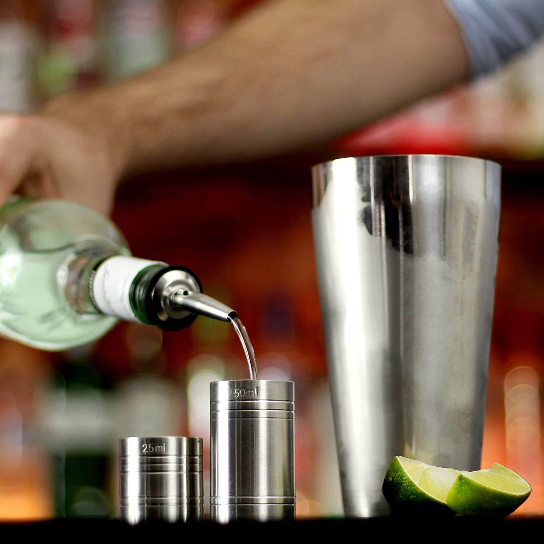 mescolino perfetto per principianti bar@drinkstuff lingua inglese Set per cocktail con shaker Manhattan pestello cucchiaio intrecciato per mescolare dosatore da 25 ml e 50 ml ricettario per cocktail