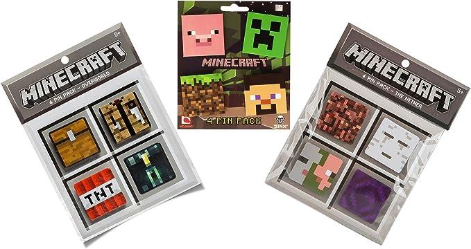 Creeper, Pig, Dirt Block, Steve, Overworld Chest, Crafting Table, TNT Block, Ender Chest, Nether Block, Ghast, Zombie Pigman, Portal JINX Minecraft 12 Button Set