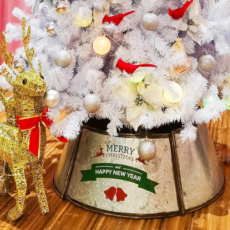 Darnassus Metal Christmas Tree Collar Christmas Tree Ring Durable Galvanized Metal Christmas Tree Skirt for Christmas Tree Decor