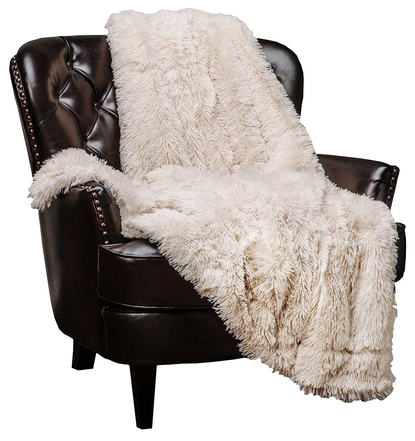 "Chanasya Super Soft Shaggy Longfur Throw Blanket | Snuggly Fuzzy Faux Fur Lightweight Warm Elegant Cozy Plush Sherpa Fleece Microfiber Blanket | for Couch Bed Chair Photo Props - 50""x 65"" - Cream"