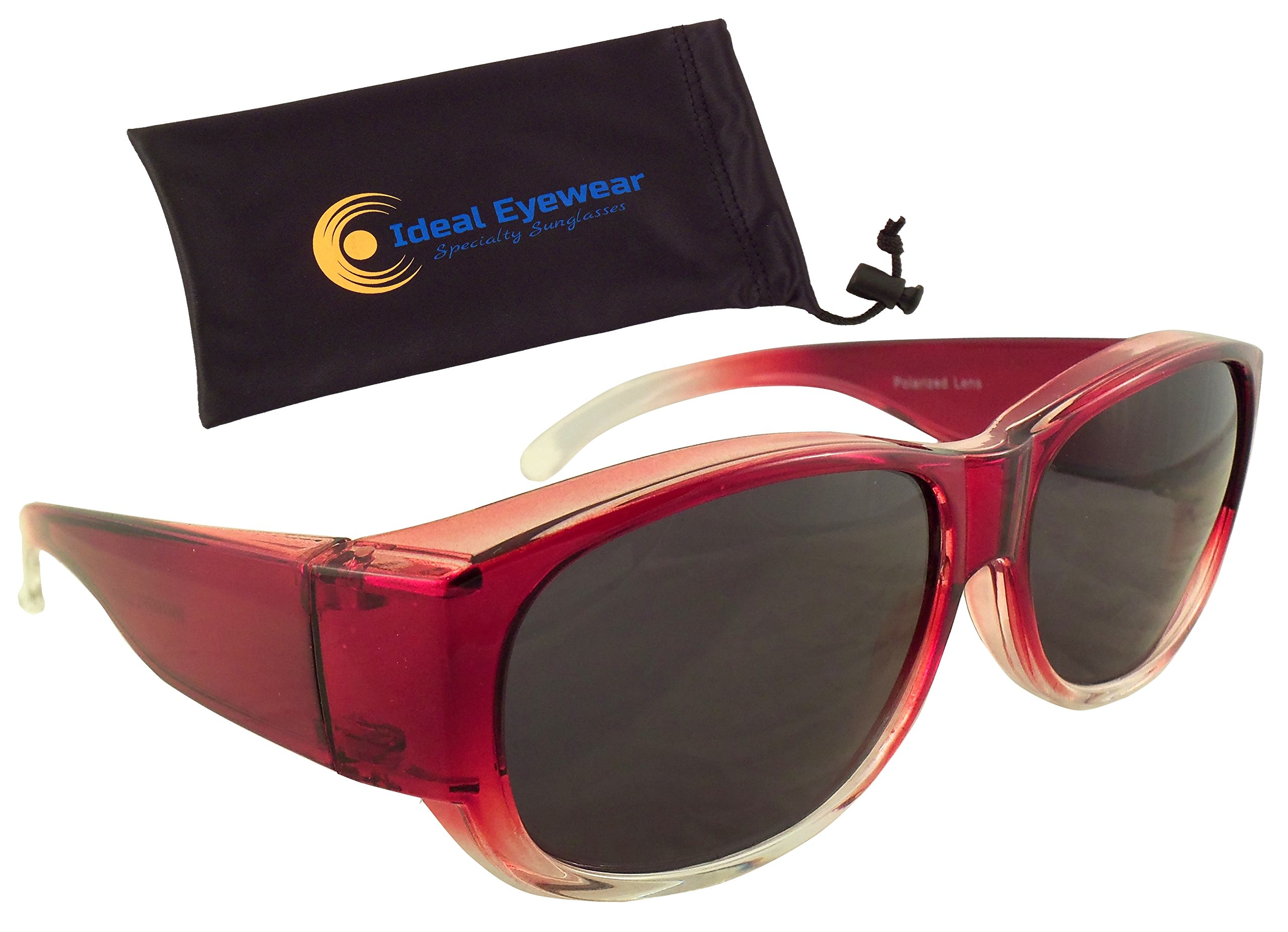 Womens Ombre Fit Over Sunglasses by Ideal Eyewear - Wear Over Prescription Glasses - Over Eyeglasses - Polarized Lenses - Light and Comfortable - Case Included (Red with case, Polarized)